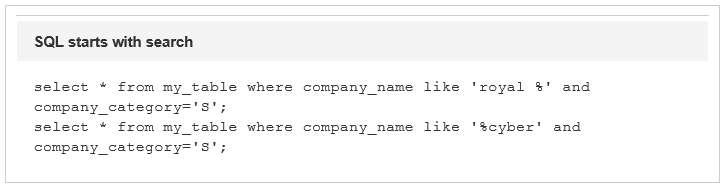 SQL starts with search