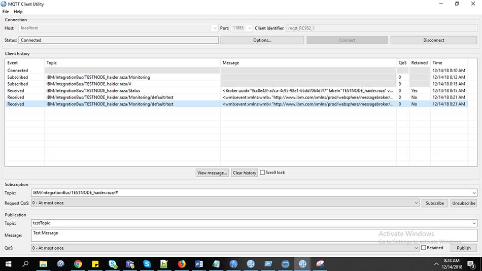 Flow Monitoring using MQTT in IBM Integration Bus (IIB