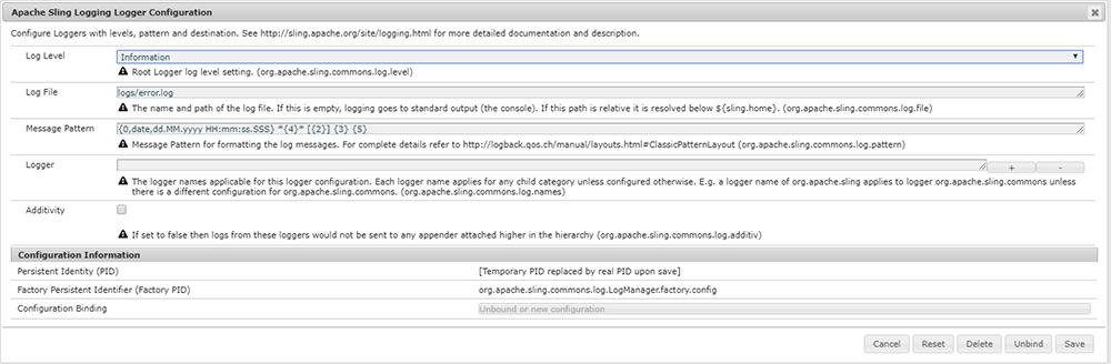 Apache Sling Logging Logger Configuration