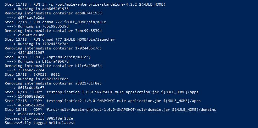 Output of Docker image build