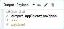 Output Application json Payload