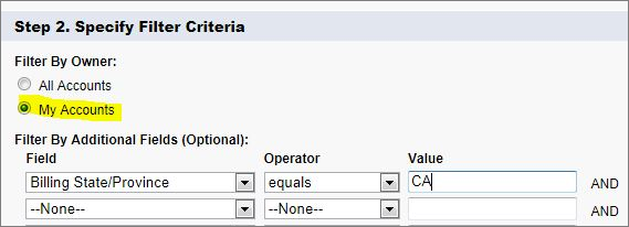 "Selecting ""my accounts"" option when specifying filter criteria"